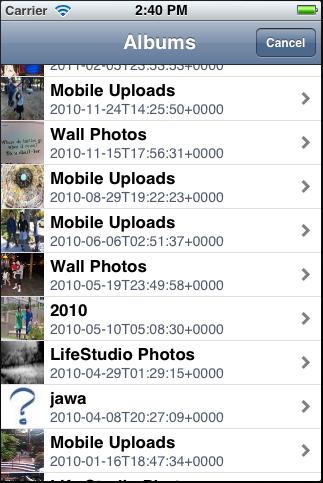 Facebook Photo Picker screenshot
