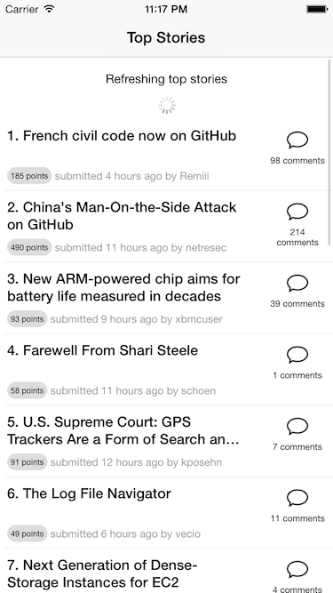 RefreshableListview screenshot