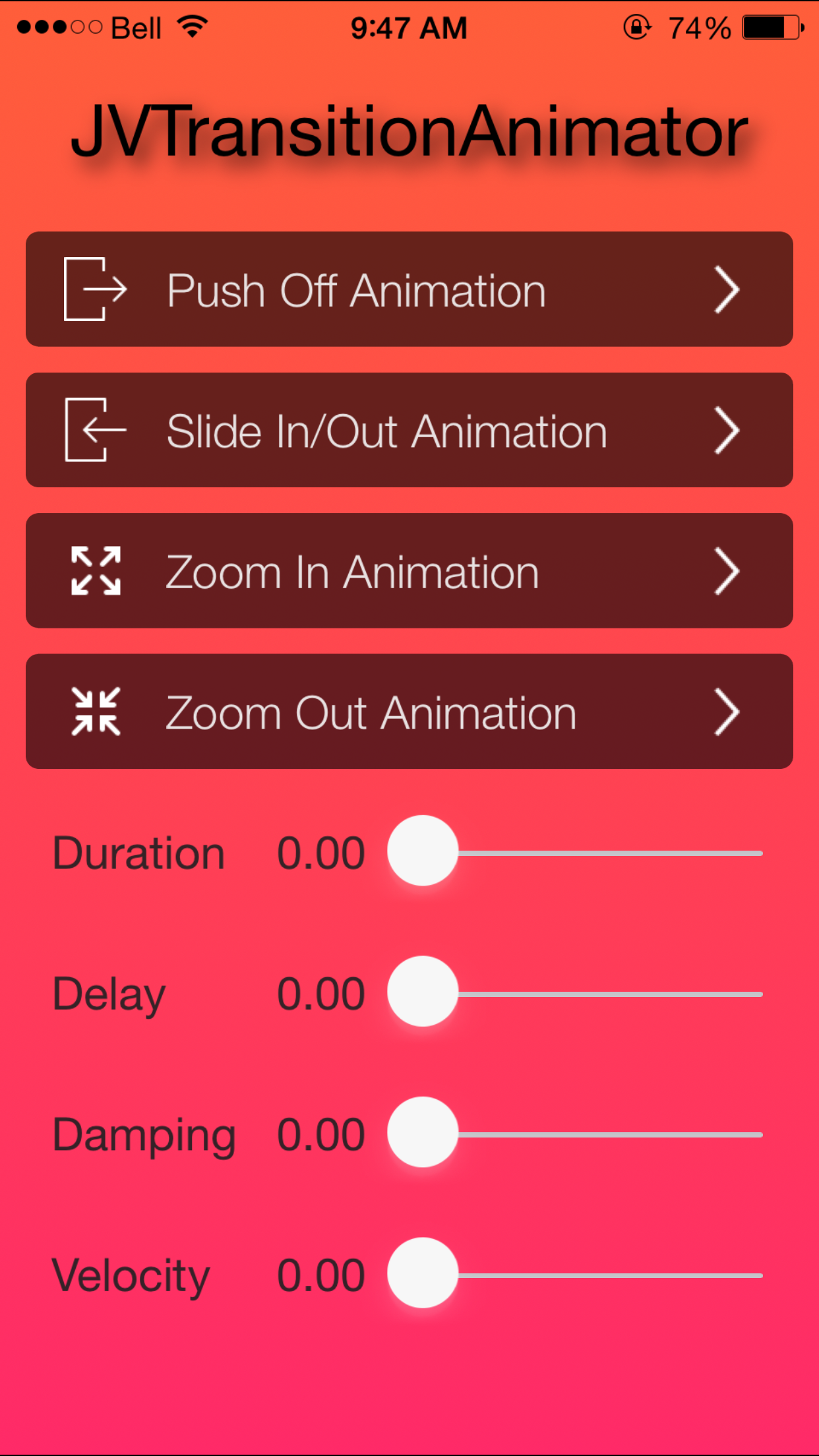 JVTransitionAnimator - Transition Animator screenshot