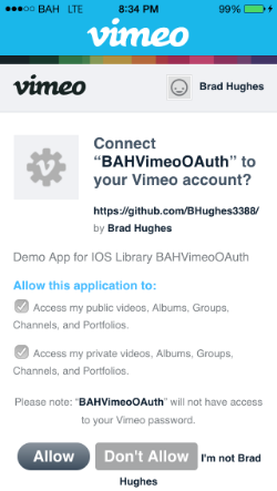 BAHVimeoOAuth screenshot