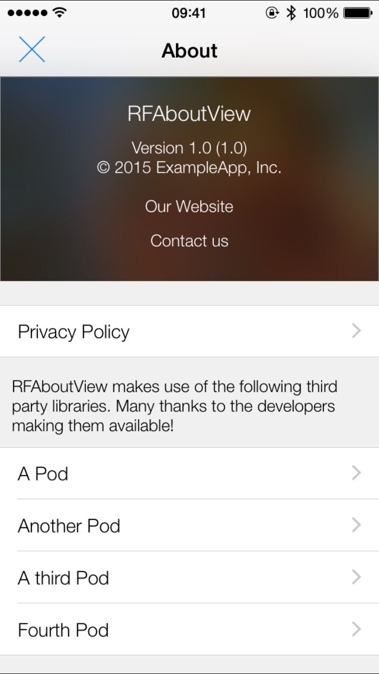 RFAboutView screenshot