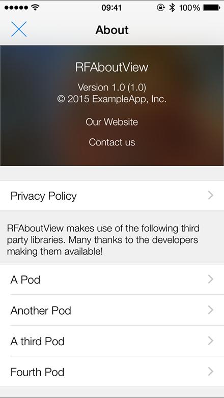 RFAboutView-Swift screenshot