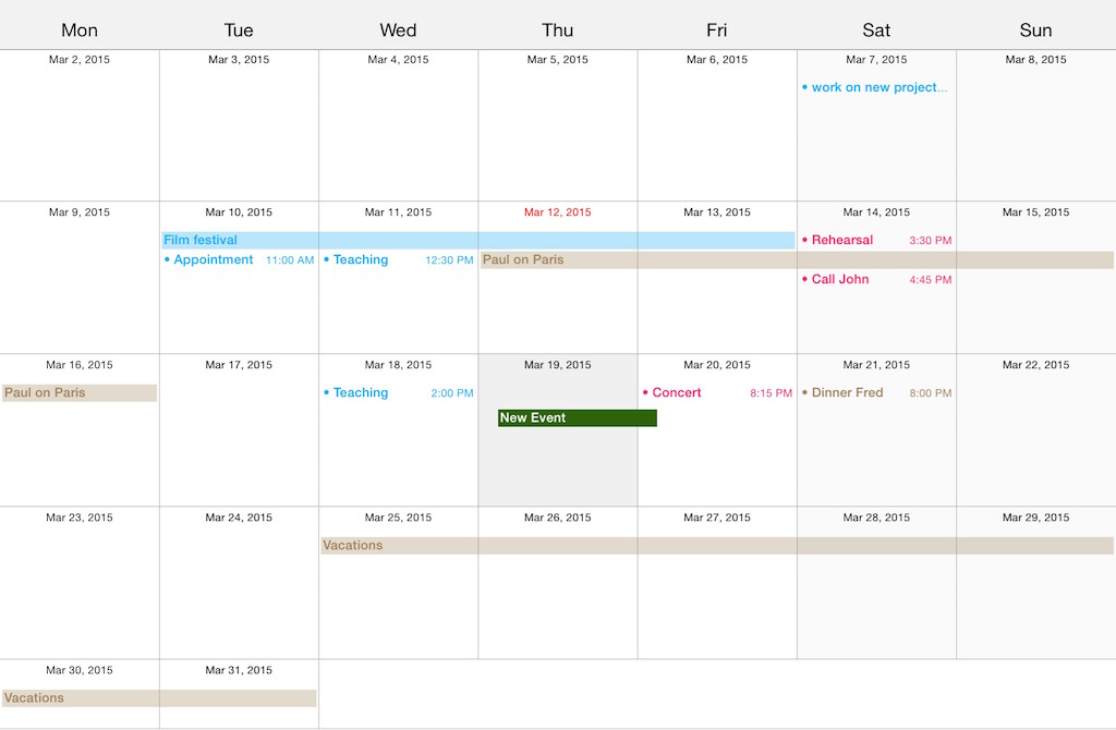 CalendarLib screenshot