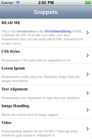 DTCoreText screenshot