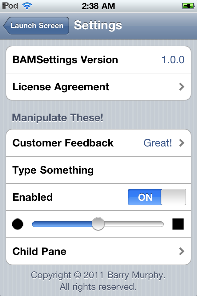 BAMSettings screenshot
