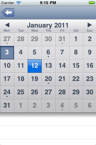 TapKu Calendar screenshot