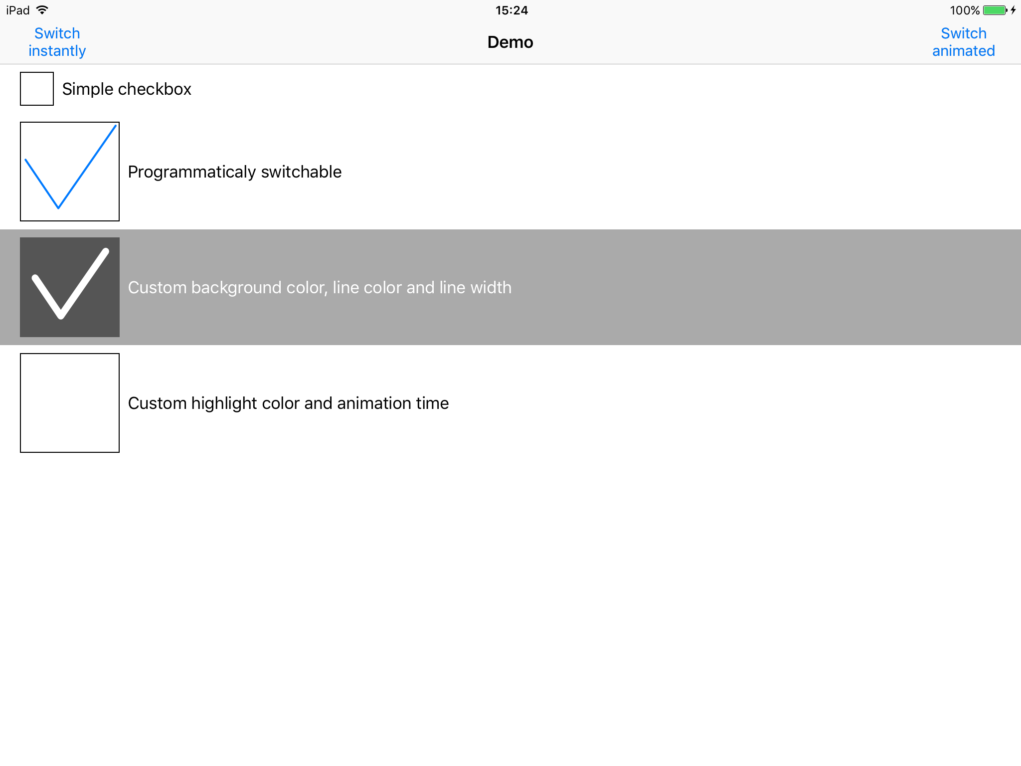DOCheckboxControl screenshot