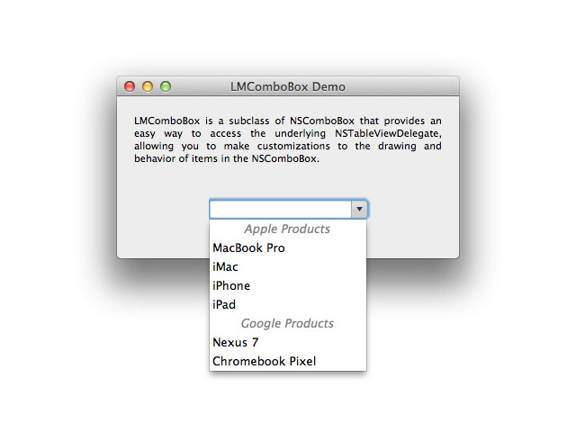 LMComboBox screenshot
