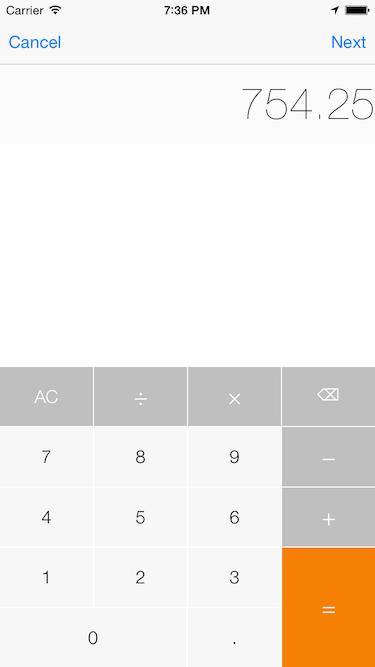 CalculatorKeyboard screenshot