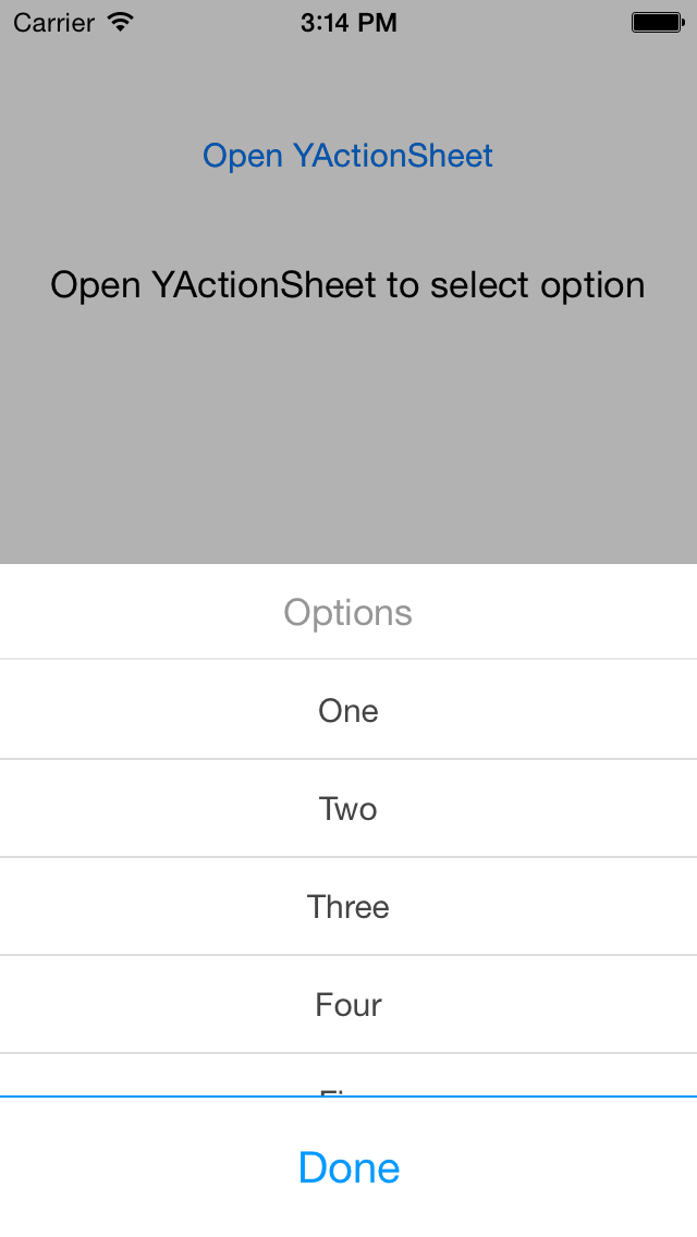 YActionSheet screenshot
