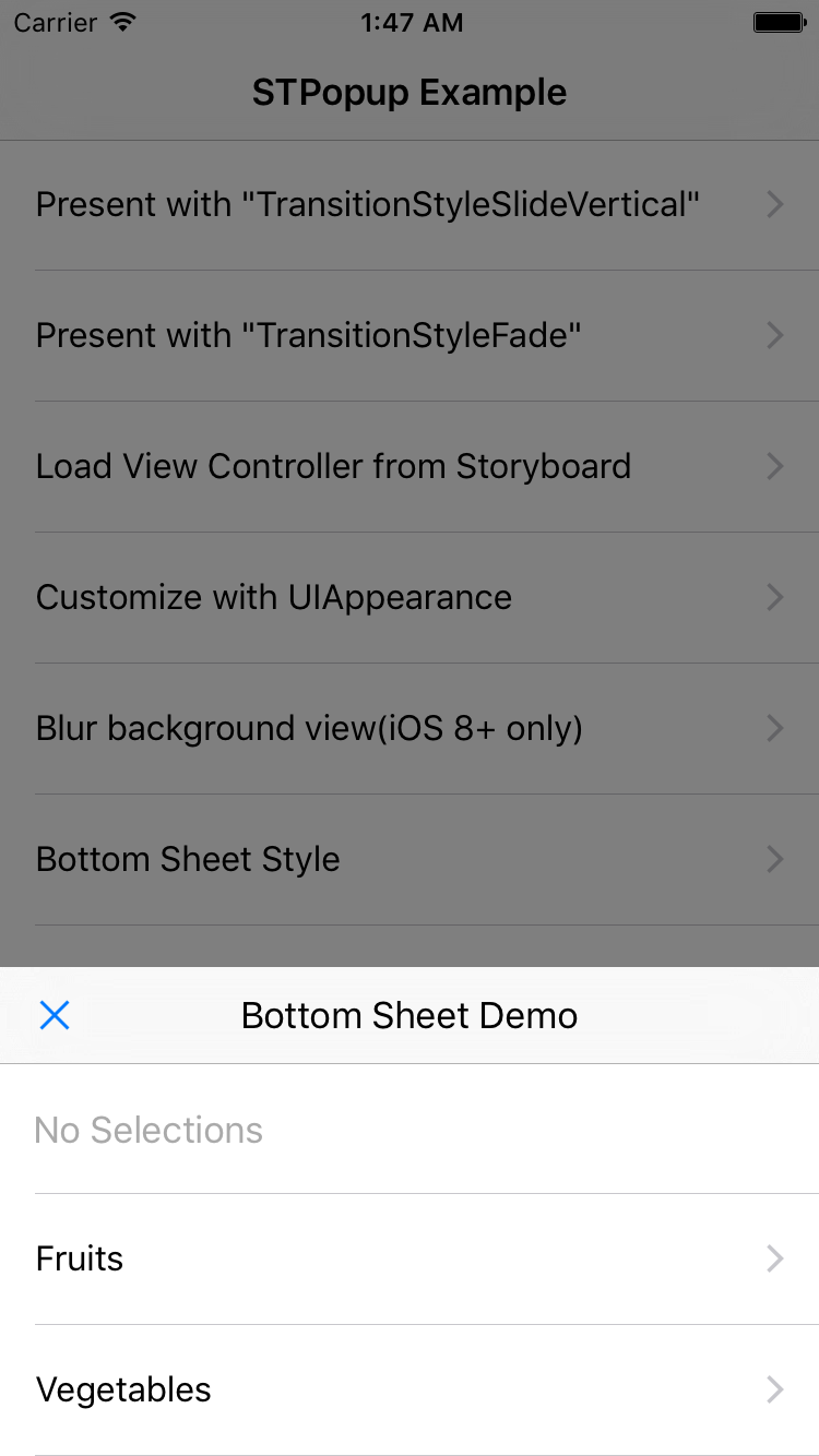 STPopup(Form Sheet and Bottom Sheet) screenshot