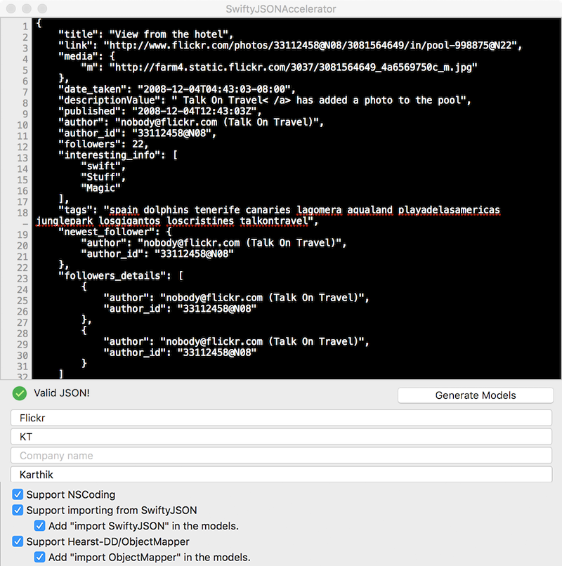 SwiftyJSONAccelerator screenshot