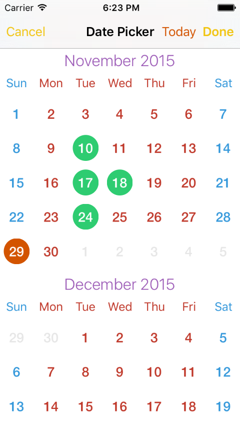 EPCalendarPicker screenshot