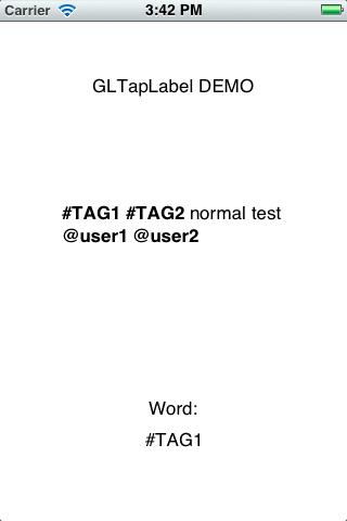 GLTapLabelDemo screenshot