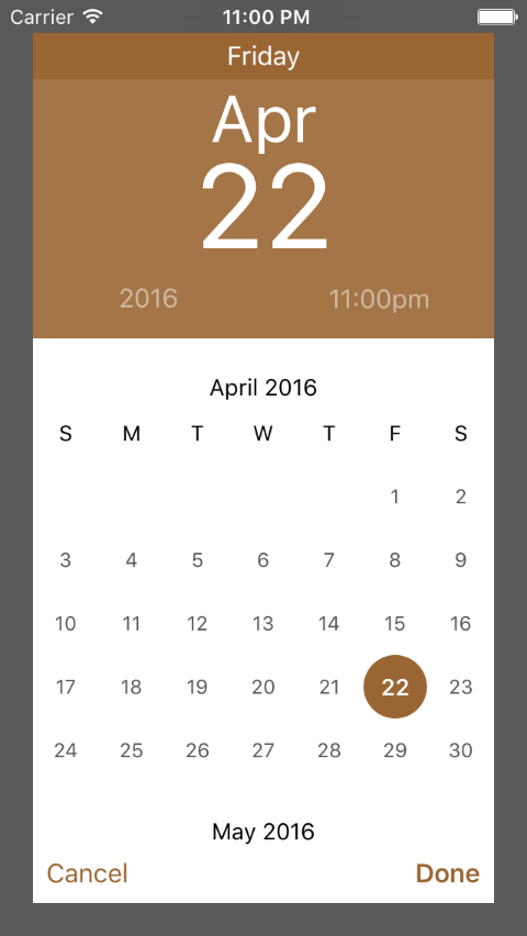 Calendar Time Selector screenshot