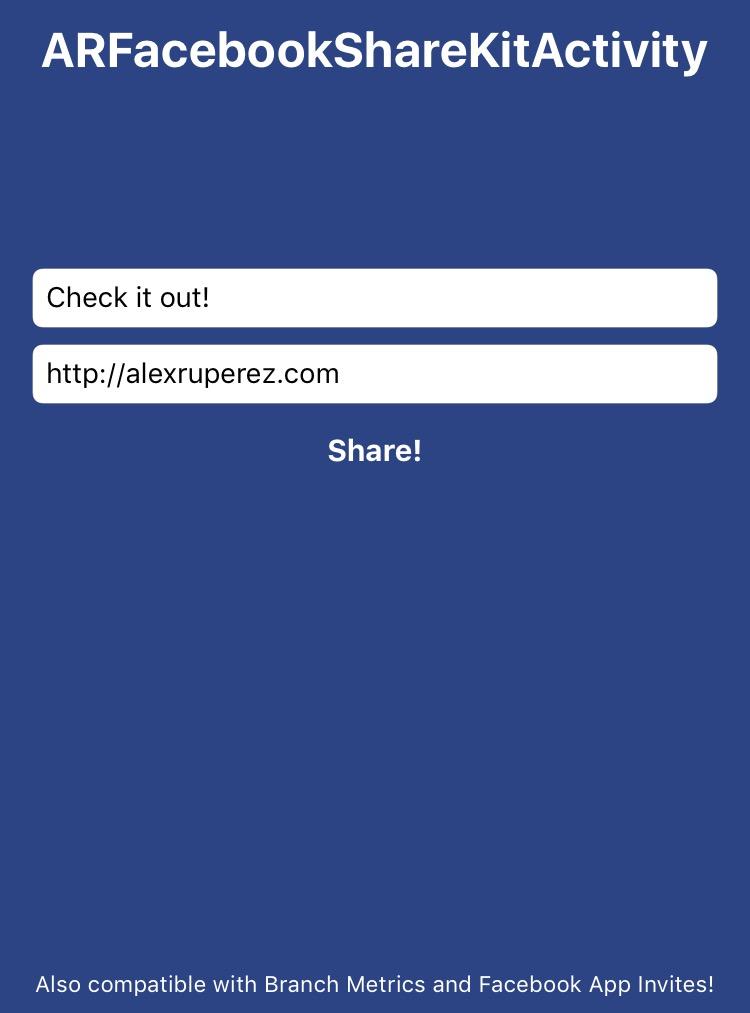 ARFacebookShareKitActivity screenshot