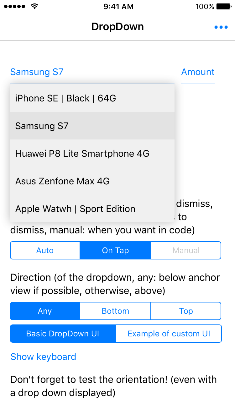 DropDown screenshot