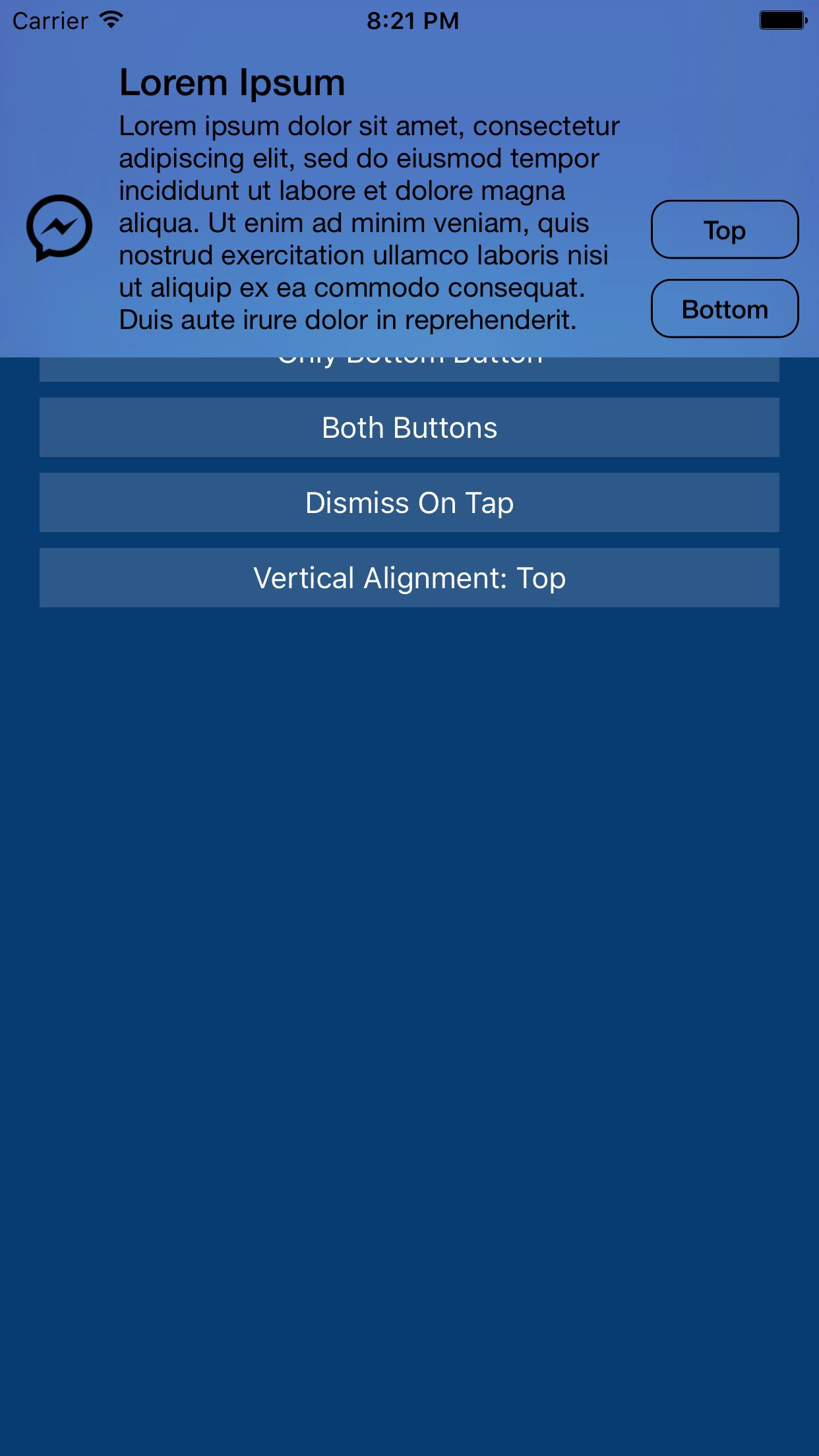 EVWDropDownNotification screenshot